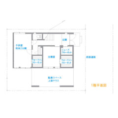 house-f :間取り図(大きなテラスのあるコンパクト住宅)