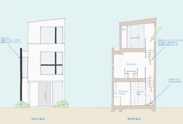 東京都港区南青山の3階建て住宅間取り図