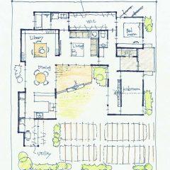 中庭のあるコの字型平屋建ての家|間取り図
