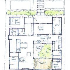 平屋建てのコートヤードハウス|間取り図