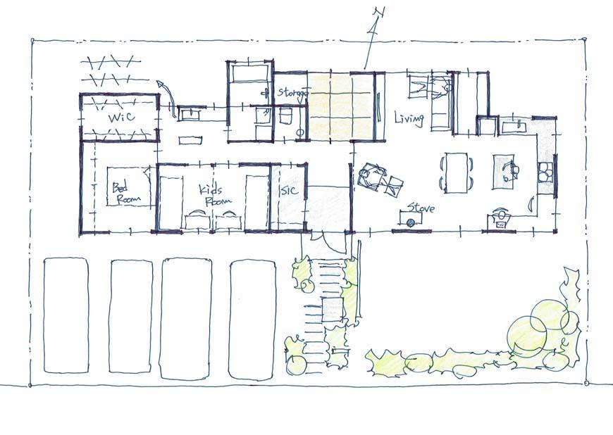 南北に開かれた平屋建て住宅間取り図
