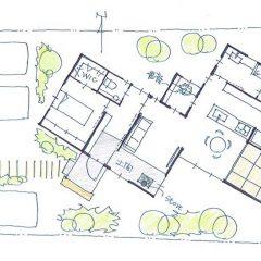 斜め配置の狭小平屋建ての家|間取り図