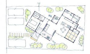 単身用平屋建ての家間取り図