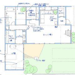 hallのあるセミ分離型の二世帯住宅 間取り図