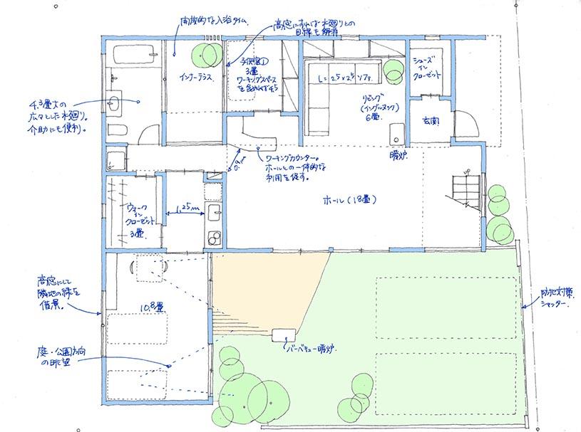 建築家と建てるセミ分離型の二世帯住宅間取り図