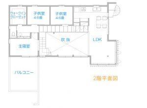 ホールのある二世帯住宅間取り図