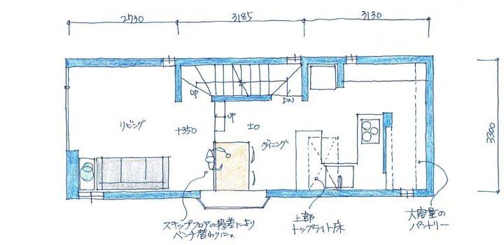 h-hrk:世田谷のスキップフロアーのある3階建て狭小住宅|間取り図