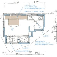 house-kwk:3階建て極狭小住宅の間取り図