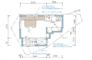 3階建て極狭小住宅の間取り図