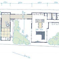 3つの中庭を持つ平屋建ての家|間取り図