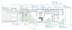3つの中庭を持つ平屋建ての家間取り図