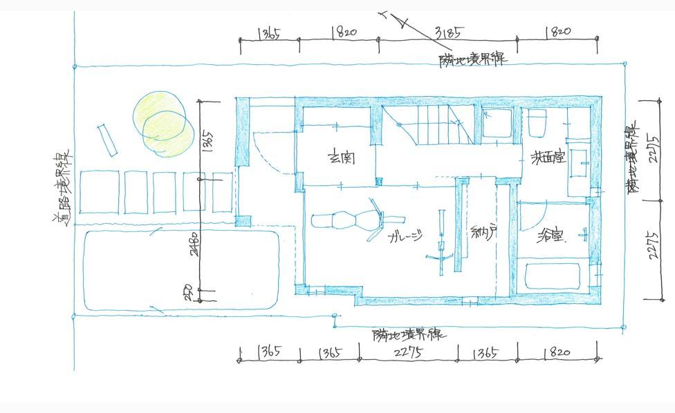 間取り図:建築家と建てる東京大田区の3階建てデザインバイクガレージハウス