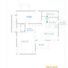 house-tkh :スキップフロアー2階リビングの家 間取り図