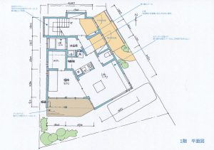 間取り図:V型敷地の完全分離型2世帯住宅