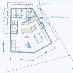 V型の2世帯住宅間取り図(3階建て完全分離型)