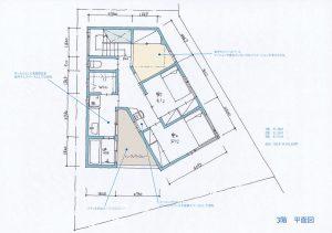 間取り図:V型敷地の完全分離型2世帯住宅 3階平面図